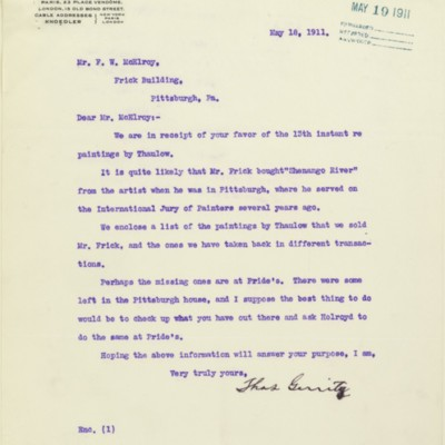 Letter from Thomas Gerrity of M. Knoedler & Co. to F.W. McElroy, 18 May 1911, with enclosed list
