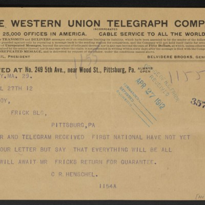 Cable from C.R. Henschel to F.W. McElroy, 27 April 1912