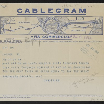 Cable from [C.S.] Carstairs to [Henry Clay] Frick, 6 July 1914 [front]