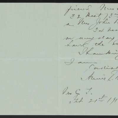 Letter from Annie E.B. Leonard to Henry C. Frick, 21 February 1916 [page 2 of 2]