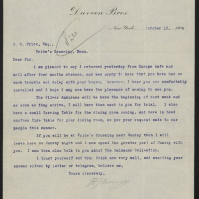Letter fromH.J.Duveen to Henry Clay Frick,10 October 1906
