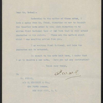 Letter from F.W. McElroy to Mr. Hetzel, 26 April 1912