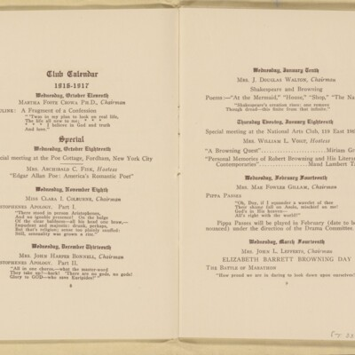 Directory of the New York Browning Society, Tenth Season, 1916-1917 [page 6 of 23]