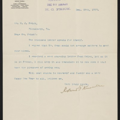Letter from Roland F. Knoedler to Henry Clay Frick, 29 December 1898