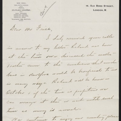 Letter from Charles S. Carstairs to Henry Clay Frick, 13 September 1907