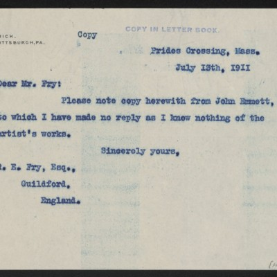 Letter from Henry Clay Frick to Roger E. Fry, with enclosure, 13 July 1911