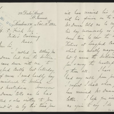 Letter from H. Silva White to H.C. Frick, 13 November 1912 [page 1 of 2]