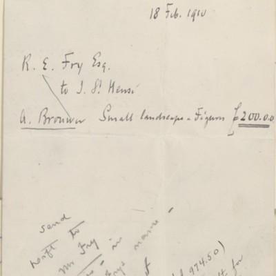 J. St Hense invoice, 18 February 1910