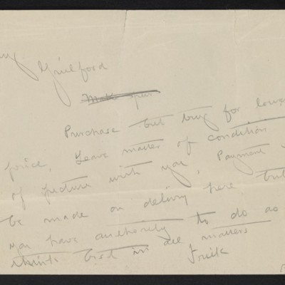 Draft of a cable from [Henry Clay] Frick to [Roger E.] Fry, circa 16 April 1910