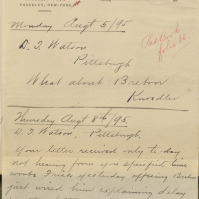Letter from Charles Carstairs to Henry Clay Frick, 8 August 1895