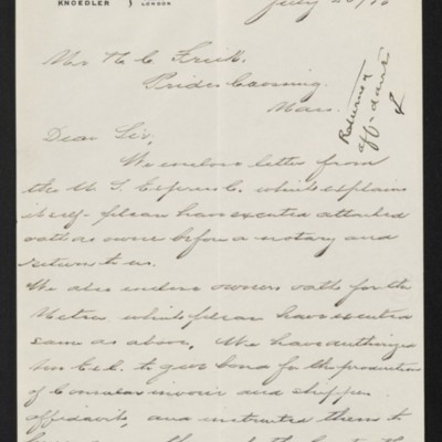 Letter from M. Knoedler & Co. to Henry Clay Frick, 28 July 1910