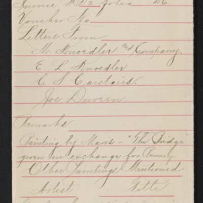 "Draft of red envelope for purchase of Romney's ""Lady Warwick and Children,"" 1908-1911"