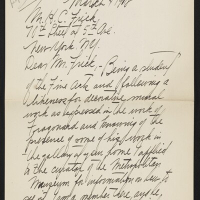 Letter from J. Earl Schrock to H.C. Frick, 4 March 1918 [page 1 of 2]