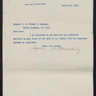 Letter from A. Braddel to C.B. Richard & Co., 30 August 1910
