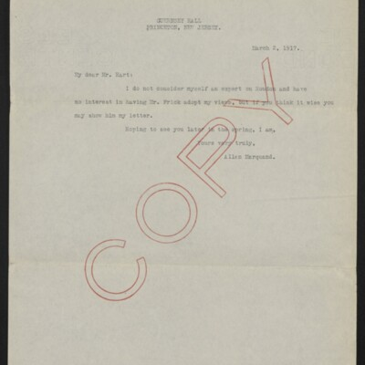 Copy of a letter from Allan Marquand to Charles Henry Hart, 2 March 1917
