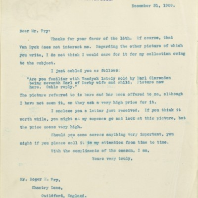 Letter from [Henry Clay Frick] to Roger E. Fry, 31 December 1909
