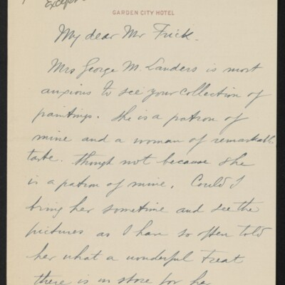 Letter from Alphonse Jongers to Henry C. Frick, 20 May 1918 [page 1 of 2]