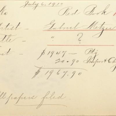 Memorandum prepared by Henry Clay Frick's secretary, 6 July 1910