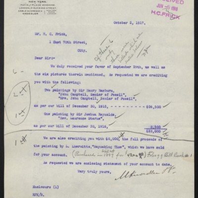 Letter from M. Knoedler & Co. to H.C. Frick, 2 October 1917