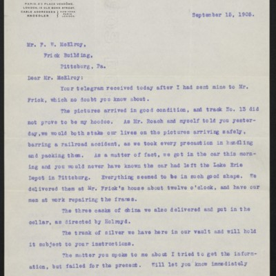 Letter from Thomas Gerrity to Henry Clay Frick, 15 September 1905