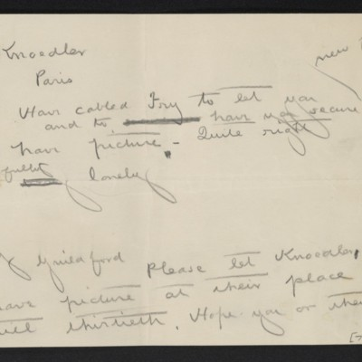 Drafts of cables from [Henry Clay Frick] to [Roland F.] Knoedler and [Roger E.] Fry, circa 19 May 1910