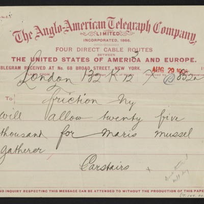 Cable from [Charles S.] Carstairs to [Henry Clay Frick], 29 August 1906 [front]