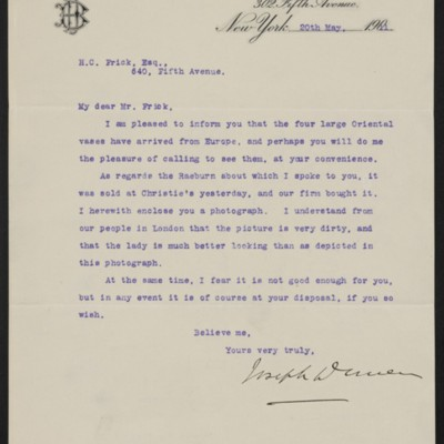 Letter from Joseph Duveen to Henry Clay Frick, 20 May 1911