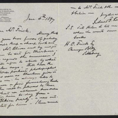 Letter from Roland F. Knoedler to Henry Clay Frick, 4 January 1897