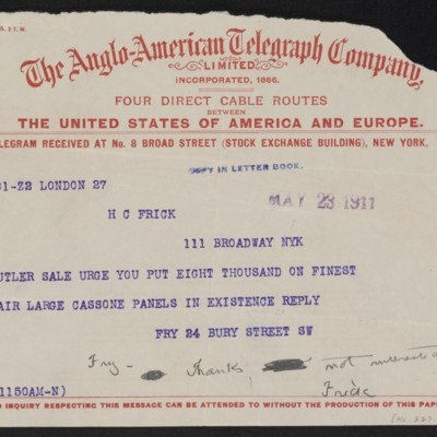 Cable from Roger E. Fry to Henry Clay Frick, 23 May 1911