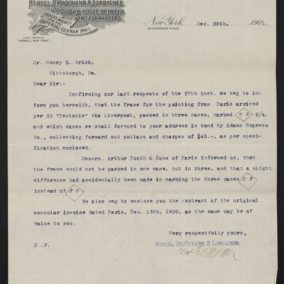 Letter from Hensel, Bruckmann & Lorbacher to Henry Clay Frick, 29 December 1900