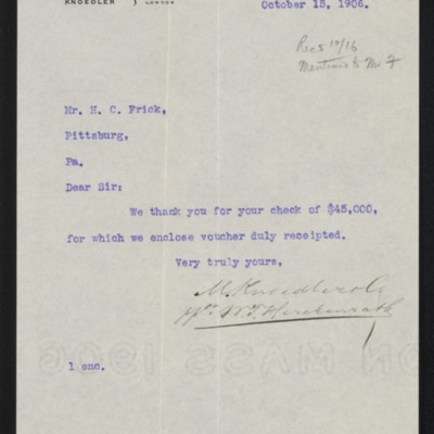Letter from M. Knoedler & Co. to Henry Clay Frick, 15 October 1906