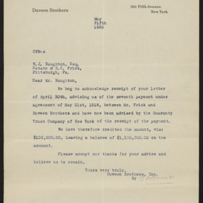 Letter from Duveen Brothers to W.J. Naughton, 5 May 1920