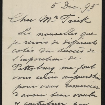 Letter from Jean-Charles Cazin to Henry Clay Frick, 5 December 1895