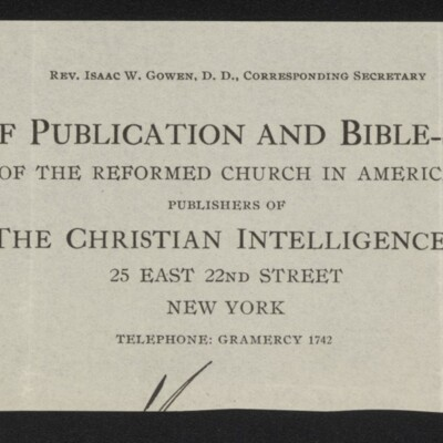 Fragment of stationery of the Board of Publication and Bible-School Work, Reformed Church in America, circa March 1918