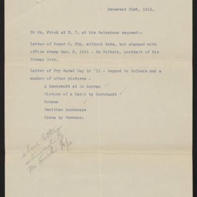 Memorandum re letters sent to Henry Clay Frick, 31 December 1911