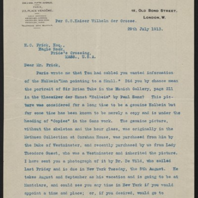 Letter from Charles S. Carstairs to Henry Clay Frick, 29 July 1913