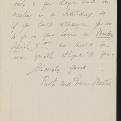 Letter from Ruth and Grace Martin to [H.C.] Frick, 30 March 1918 [page 2 of 2]
