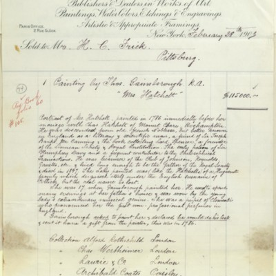 M. Knoedler & Co. Invoice, 28 February 1903