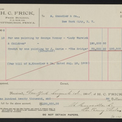 Voucher from Henry Clay Frick to M. Knoedler & Co., 13 August 1908 [back]