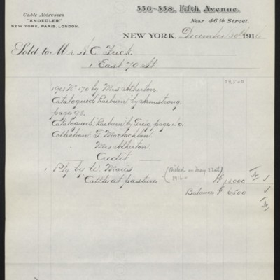 Invoice from M. Knoedler & Co. to Henry Clay Frick, 30 December 1916 [page 2 of 2]