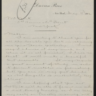 Letter from H.J. Duveen to Adelaide Frick, 18 May 1906
