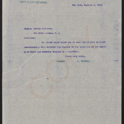 Letter from A. Braddel to Duveen Brothers, 6 January 1919