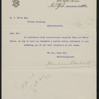 Letter from Duveen Brothers to Henry Clay Frick, 29 September 1911