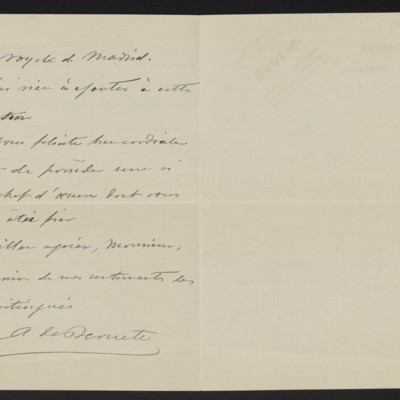 Letter from A. de Beruete to Stevenson Scott, 23 January 1911 [page 2 of 2]