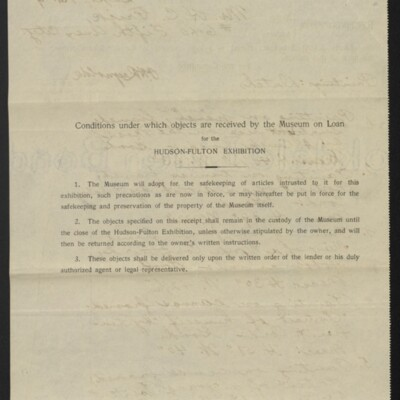Receipt from the Metropolitan Museum of Art to H.C. Frick, 1 September 1909 [back of page 1]