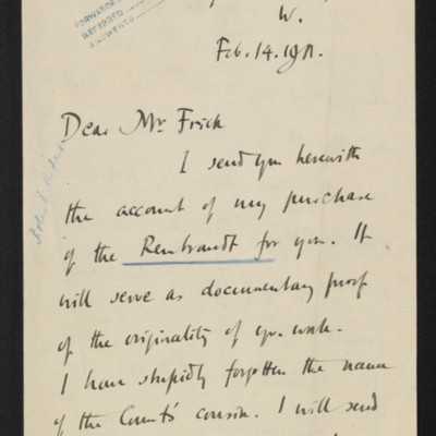 Letter from Roger E. Fry to [Henry Clay] Frick, 14 February 1911