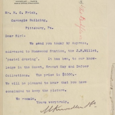 Letter from M. Knoedler & Co. to Henry Clay Frick, 7 October 1897