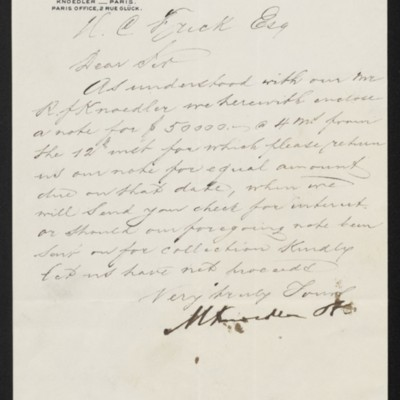 Letter from M. Knoedler & Co. to Henry Clay Frick, 7 January 1903