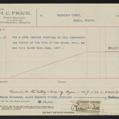 Voucher to Shirleys (Limited) for 15th Century Painting, 15 August 1907 [back]