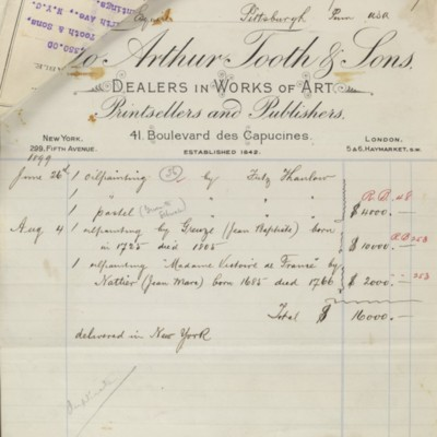 Arthur Tooth & Sons Invoice, 1 September 1899